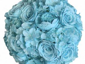 Artisti – Elena Διακοσμητική Μπάλα Λουλούδια με Γαλάζια υφασμάτινα τριαντάφυλλα 45 εκ Vintage